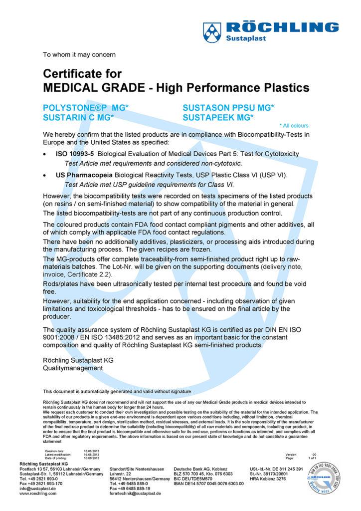 Certificate-Medical-Grades-Roechling-High-Performance-Plastics-yktg-com